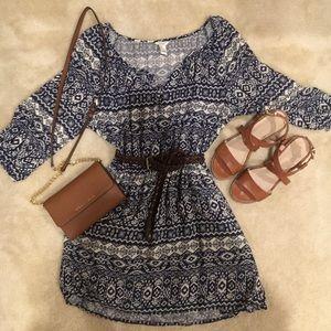 Mixed Print Cinched-Waist Dress